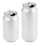 两打开了铝罐在白色的啤酒 图库摄影