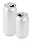 两打开了铝罐在白色的啤酒 库存照片