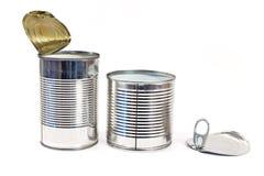 两打开空的锡罐 库存照片