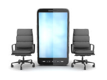 两把企业椅子和手机 免版税库存照片