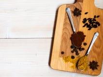 两把匙子用在桌上的调味品 免版税库存照片