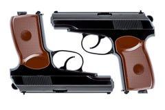 两把手枪对称地被指挥在树干下 免版税图库摄影
