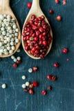 两把木匙子用桃红色和白色干胡椒 免版税库存照片
