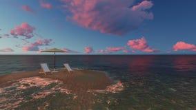 两把椅子在海滩的一把伞下在多云天之前 免版税库存照片