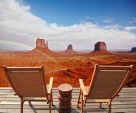两把椅子-轻便折叠躺椅 库存图片