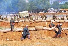 两支军队攻击 图库摄影