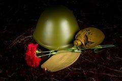 两支康乃馨、一件军事盔甲和飞行员盖帽,一个烧瓶,以纪念碑为背景 库存照片