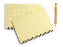 两支笔记本和笔 顶视图 笤帚查出的白色 库存照片