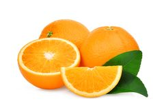 两整个和切片与被隔绝的绿色叶子的橙色果子 库存照片