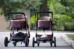 两新出生的婴儿推车婴孩车 免版税库存照片