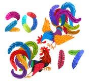 两明亮的五颜六色的雄鸡战斗 在2017上写字做了羽毛 新年的画的中国标志 库存例证