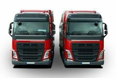 两有半拖车的卡车 免版税库存照片