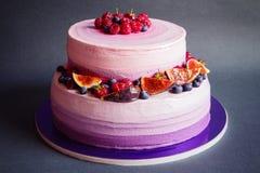 两有排列的紫色蛋糕用在深灰背景的果子 图库摄影