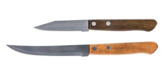 两有木把柄的简单的厨刀 库存照片