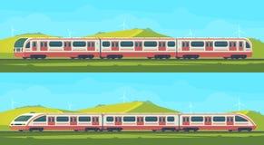 两有自然风景的passanger现代电高速列车在一个多小山区域 传染媒介illustation 铁路 皇族释放例证
