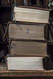 两本老棕色书 免版税库存照片