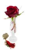 两朵在白色情人节comp的玫瑰花瓶金属石榴 库存照片