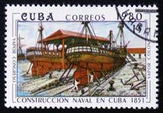 两条古巴汽轮`大会报`和`冒号`,在1851年建立 免版税库存照片