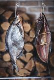 两条大熏制的鱼在被堆积的木柴背景垂悬  免版税库存图片