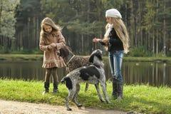 两条女孩和狗在公园 库存图片