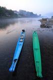 两条小船在河 免版税图库摄影