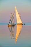 两条小船横渡 库存图片