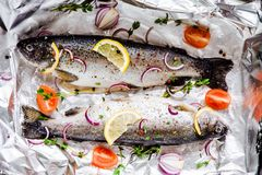 两条未加工的河鳟鱼用麝香草、柠檬、红洋葱和蕃茄在箔特写镜头 免版税库存照片