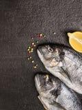 两条未加工的dorado鱼朝向用柠檬和干胡椒在黑石背景 库存图片