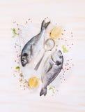 两条未加工的dorado鱼用柠檬、香料和匙子在纸,组成在白色木背景, 图库摄影