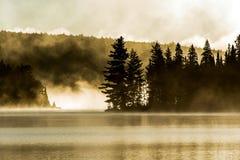 两条河阿尔根金族国家公园安大略加拿大日落日出湖有雾有雾的神秘的大气背景 库存照片