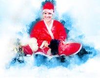 两条甜长卷毛狗陪同的圣诞节成套装备的快乐的少妇 软软地被弄脏的水彩背景 免版税库存图片