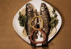 两条被烘烤的鳟鱼 例证百合红色样式葡萄酒 免版税库存照片