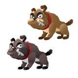 两条邪恶的暴牙的狗,传染媒介系列动物 免版税库存照片
