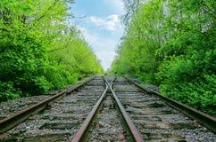 两条铁路横穿  库存照片