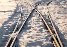 两条铁路轨道合并 图库摄影