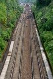 两条铁路轨道线 免版税库存照片