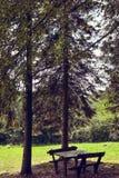 两条长凳在村庄房子,塞尔维亚的围场 免版税库存照片