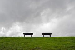 两条长凳在绿色领域的中心 库存照片