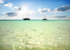 两条风船在海 免版税库存照片