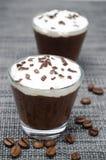 两杯与打好的奶油的巧克力和咖啡奶油甜点 图库摄影