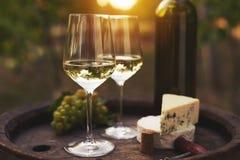 两杯在户外老木桶的白葡萄酒 免版税库存照片