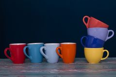 两杯小组咖啡另外颜色和形式  明喻c 图库摄影