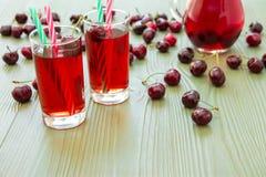 两杯樱桃汁和一些空的空间 免版税库存图片