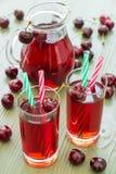 两杯樱桃汁 免版税库存照片