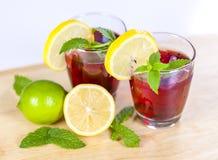两杯红色果汁用柠檬和石灰 免版税库存照片