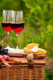两杯红葡萄酒用面包、肉、葡萄和乳酪在Th 免版税图库摄影