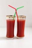 两杯西红柿汁 免版税图库摄影