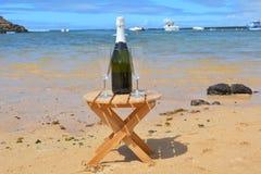 两杯香宾和瓶在天堂海岛 库存图片