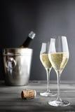 两杯香槟、致冷机和黄柏 免版税库存图片