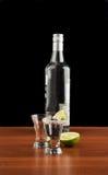 两杯龙舌兰酒、瓶、盐和石灰 库存照片